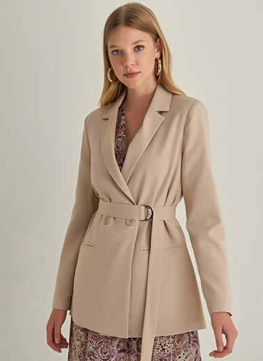 NGSTYLE Kuşaklı Blazer Ceket Taş